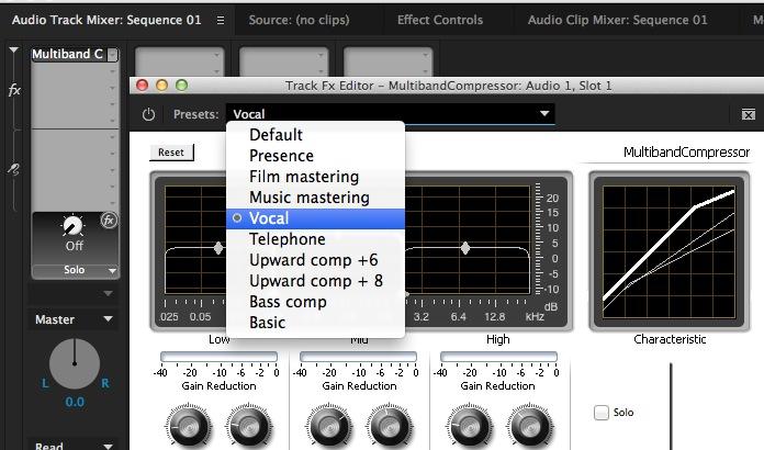 Premiere Pro Audio Track Mixer Presets