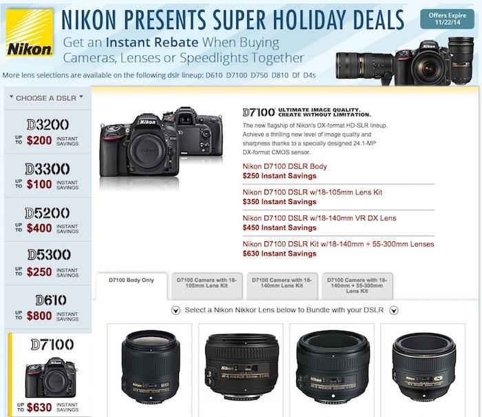 Nikon Instant Rebates November 2014