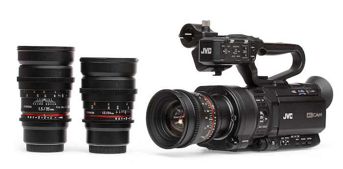 JVC GY-LS300 with Rokinon Micro Four Thirds Lenses