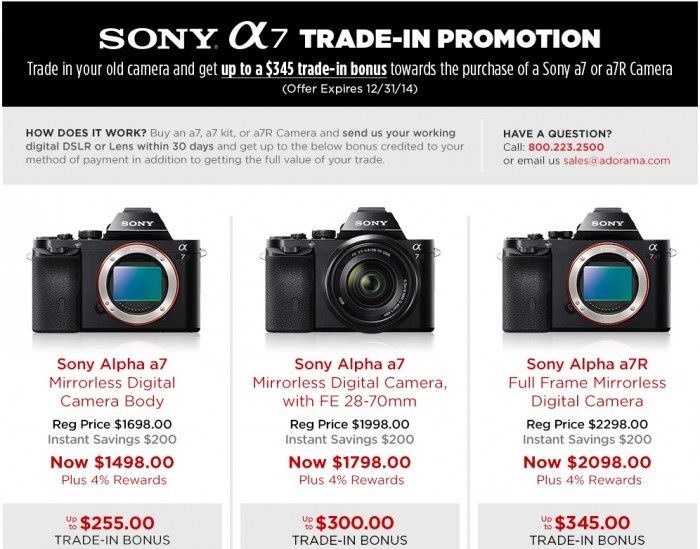 Sony A7 Series Trade-in Program
