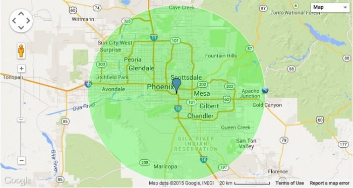 30-Mile Radius of University of Phoenix