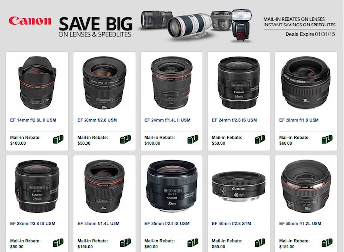 Canon Lens Deals January 2015