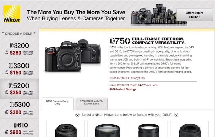 Nikon DSLR and Lens Rebates