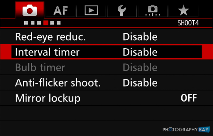 7D Mark II Interval Timer Menu