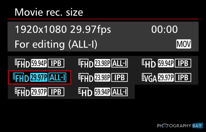 Canon 7D Mark II Video Capture Formats