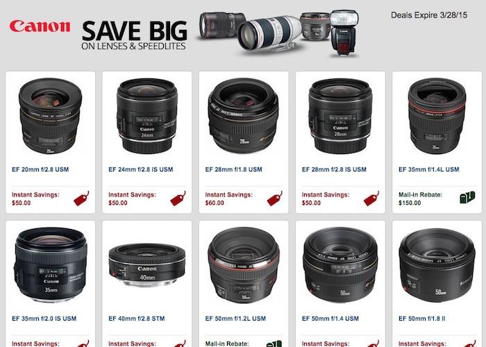 Canon Lens Rebates March 2015
