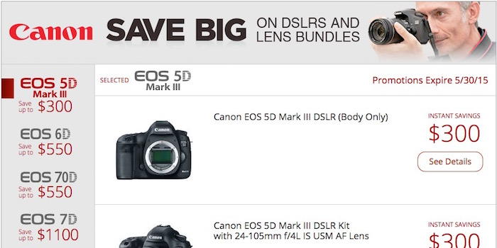 Canon DSLR Instant Rebates May 2015