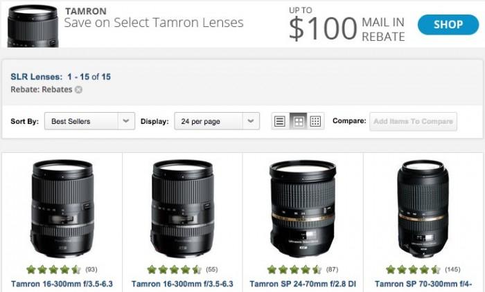 Tamron Lens Rebates June 2015