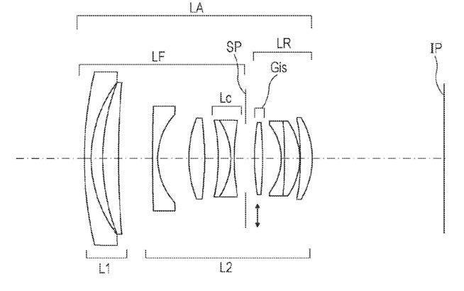 Canon EF 35mm f/2 IS II USM Lens Patent Diagram