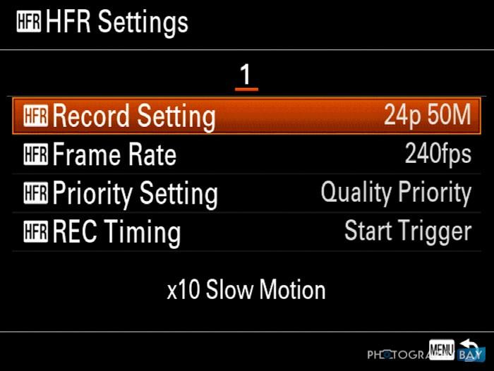 Sony RX100 IV HFR Menu