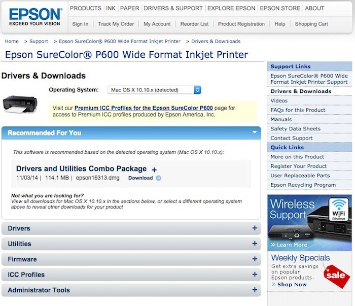 Epson P600 Support
