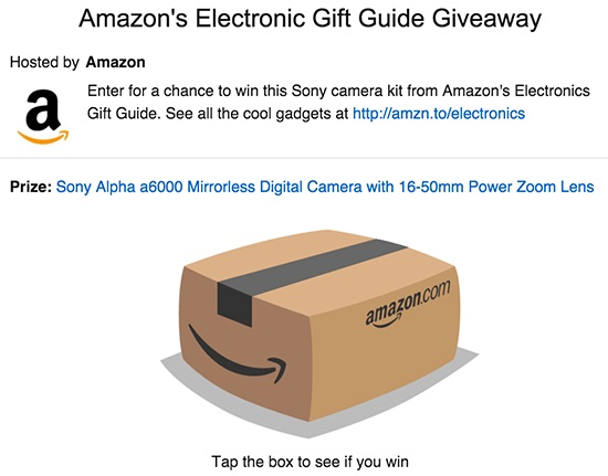 Sony A6000 Giveaway on Amazon