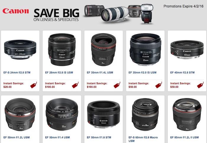 Canon Lens and Speedlite Instant Rebates