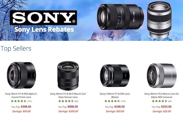 Sony Lens Instant Rebates