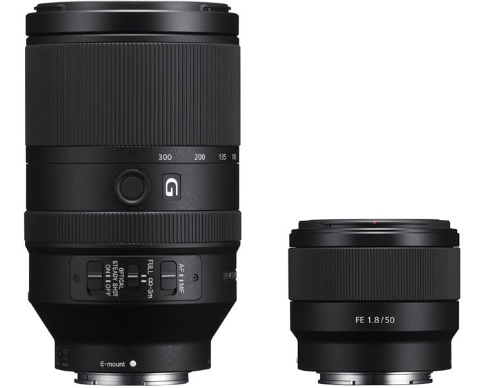 Sony-FE-70-300mm-f4.5-5.6G-OSS-Lens-and-Sony-FE-50mm-1.8-Lens
