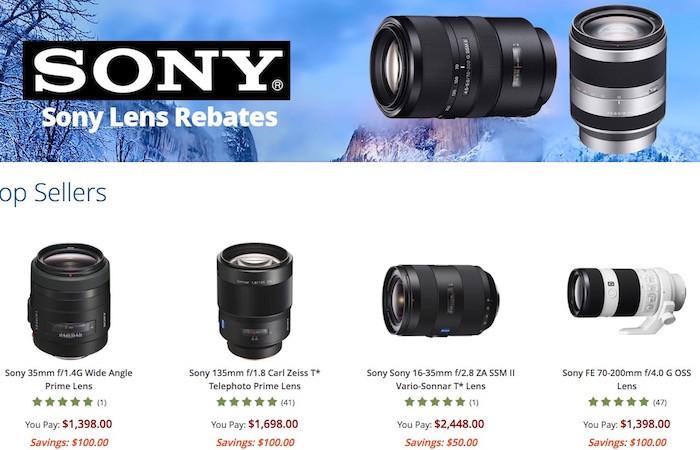 Sony Lens Rebates