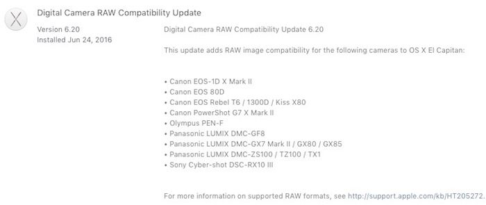 Apple Digital Camer aRAW Update 6.20